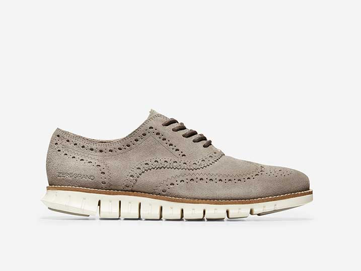 Cole Haan ZerøGrand Wingtip Oxford Gray Suede/Ivory