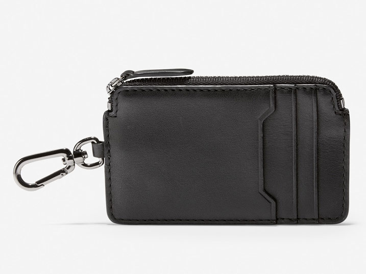 Cole Haan Smooth Leather Zip Card Case/Key Ring Black