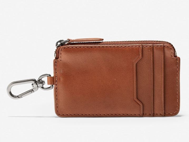 Cole Haan Smooth Leather Zip Card/Key Case Ring British Tan
