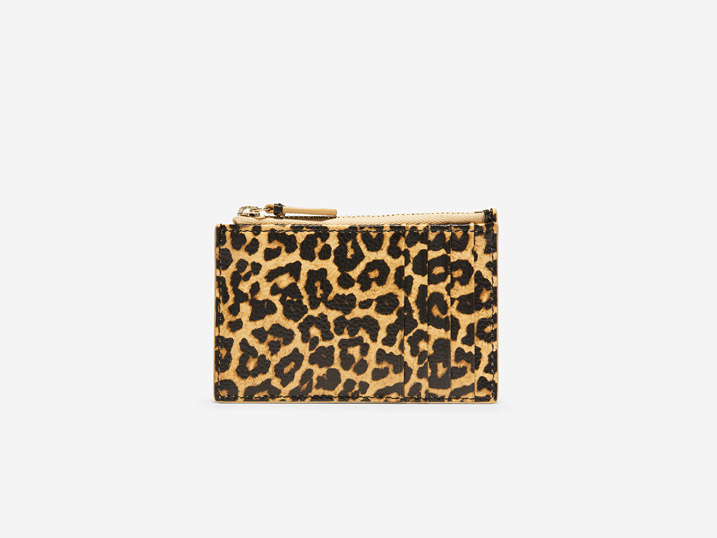 Cole Haan Card Case Zip Leopard